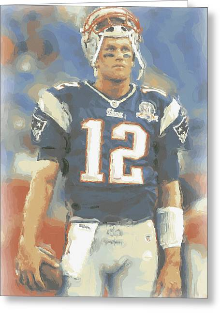 New England Patriots Tom Brady Greeting Card by Joe Hamilton