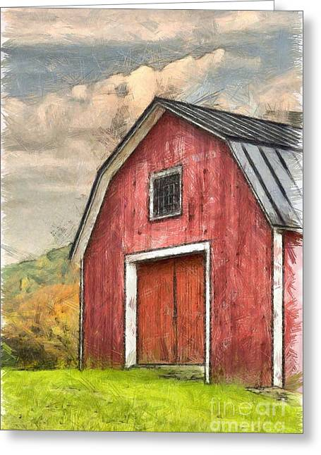 New England Red Barn Pencil Greeting Card by Edward Fielding