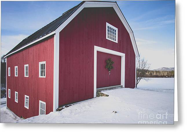 New England Red Barn Winter Orford Greeting Card by Edward Fielding
