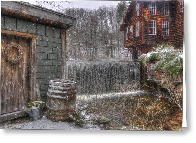 New England Snow Scenes - Frye's Measure Mill - Wilton, Nh Greeting Card by Joann Vitali