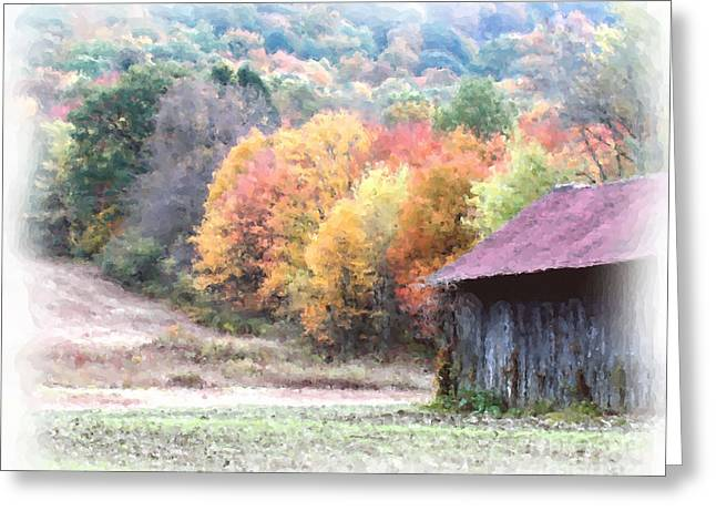 Fall Photos Mixed Media Greeting Cards - New England Tobacco Barn In Watercolor Greeting Card by Smilin Eyes  Treasures
