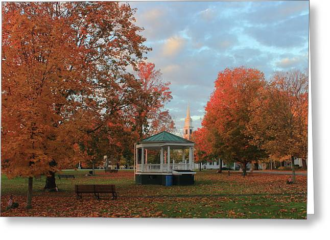 New England Town Common Autumn Morning Greeting Card by John Burk
