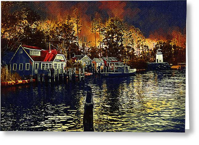 New England Town Greeting Card by Paul Bartoszek