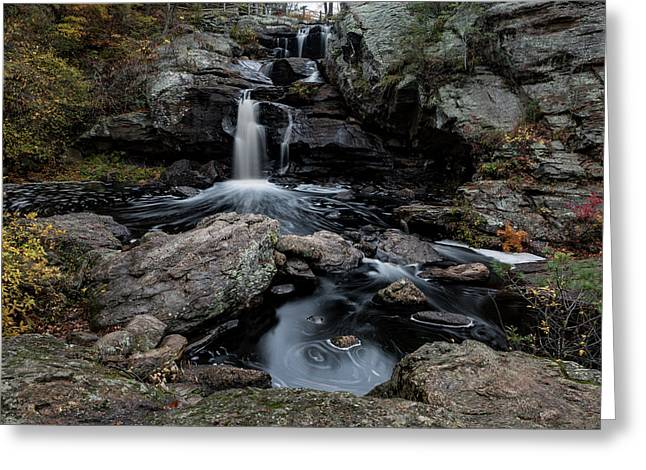 New England Waterfall In Autumn Greeting Card
