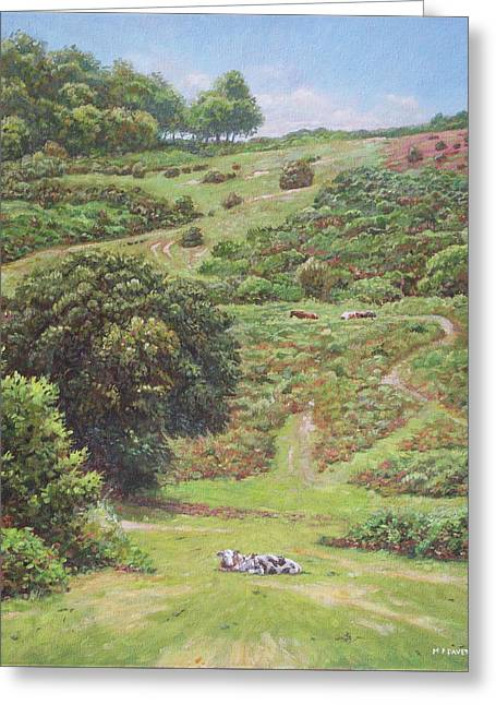 Greeting Card featuring the painting New Forest Hill With Cows And Horses by Martin Davey