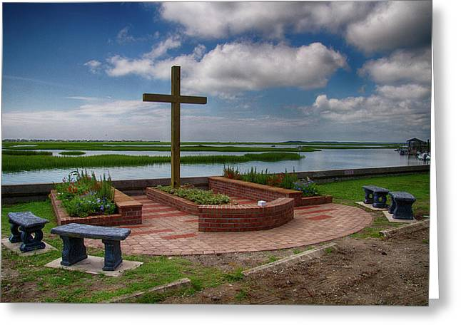 Greeting Card featuring the photograph New Garden Cross At Belin Umc by Bill Barber