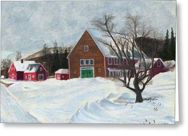 New Hampshire Farm In Winter Greeting Card