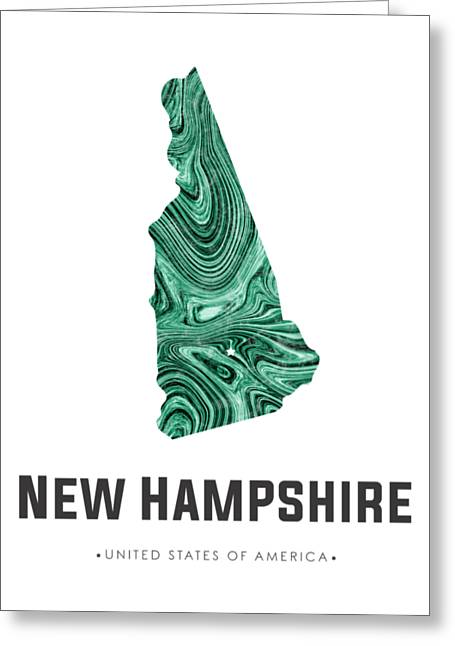 New Hampshire Map Art Abstract In Blue Green Greeting Card