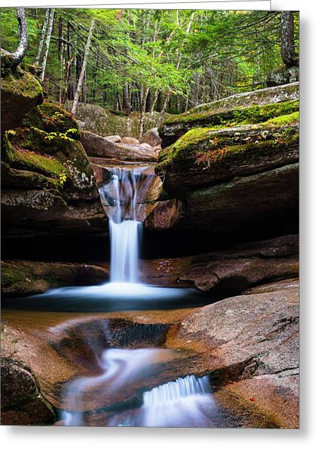 New Hampshire Sabbaday Falls And Fall Foliage Panorama Greeting Card