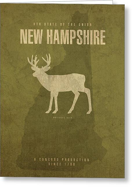 New Hampshire State Facts Minimalist Movie Poster Art Greeting Card
