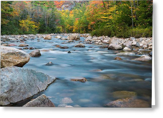 New Hampshire Swift River And Fall Foliage In Autumn Greeting Card