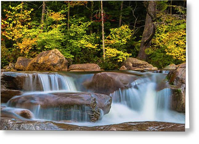 New Hampshire White Mountains Swift River Waterfall In Autumn With Fall Foliage Greeting Card