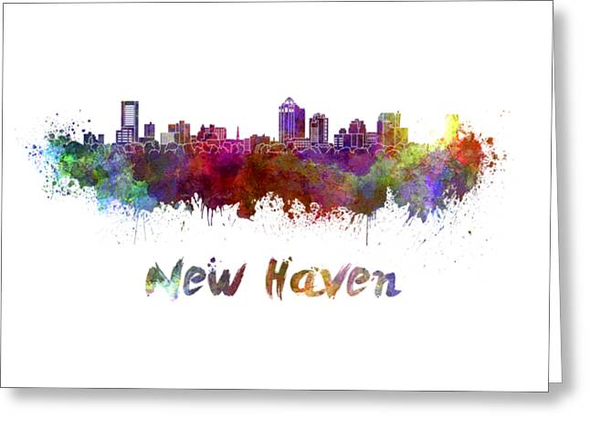 New Haven Skyline In Watercolor Greeting Card by Pablo Romero