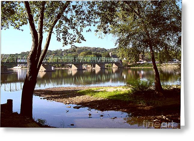 New Hope Lambertville Bridge Greeting Card by Addie Hocynec