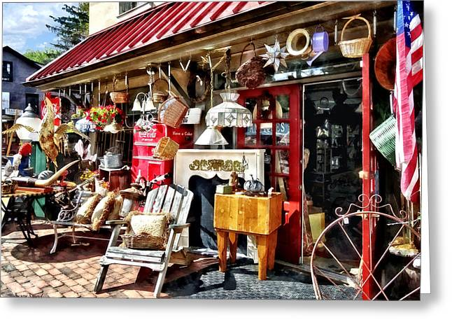 New Hope Pa Antique Shop Greeting Card by Susan Savad