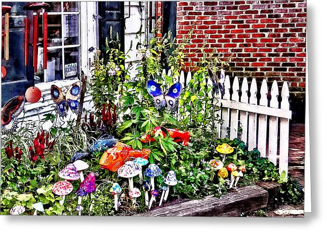 New Hope Pa - Garden Of Ceramic Mushrooms Greeting Card by Susan Savad
