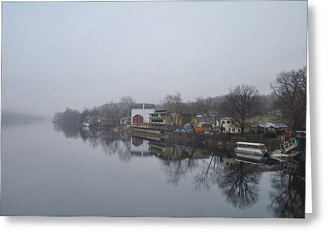 New Hope River View On A Misty Day Greeting Card