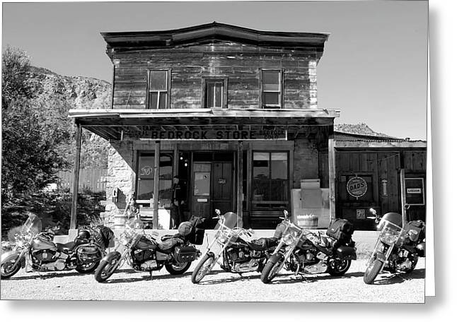 Harley Davidson Greeting Cards - New horses at Bedrock Greeting Card by David Lee Thompson