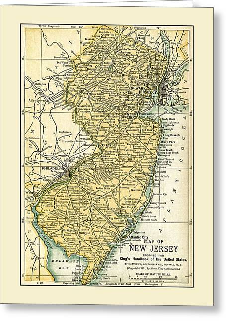 New Jersey Antique Map 1891 Greeting Card