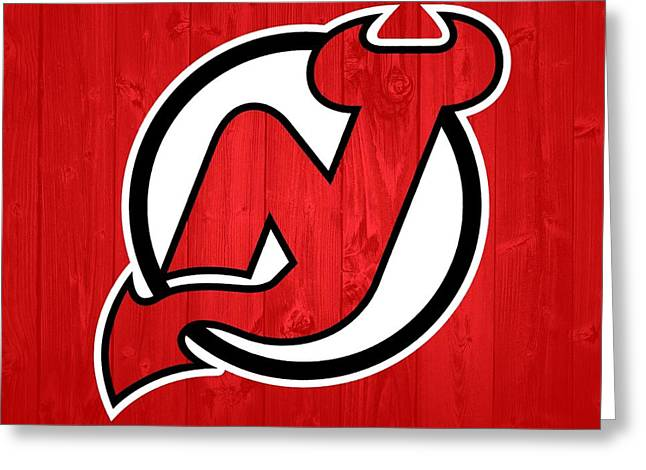 New Jersey Devils Barn Door Greeting Card by Dan Sproul