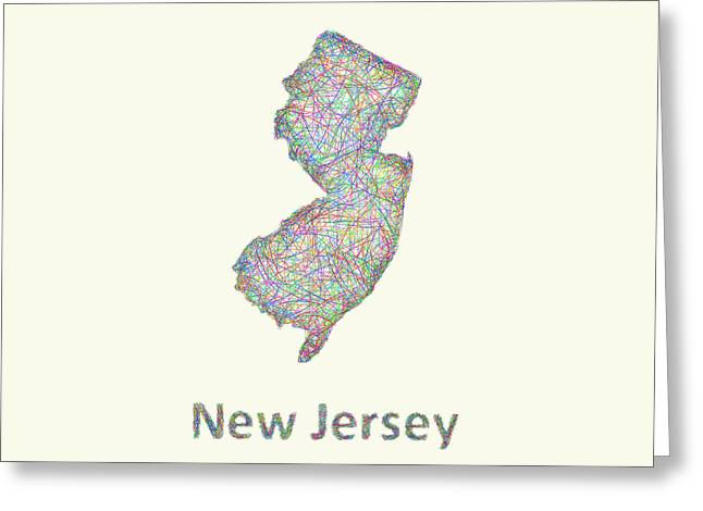 New Jersey Line Art Map Greeting Card