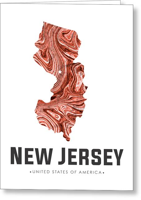 New Jersey Map Art Abstract In Brown Greeting Card