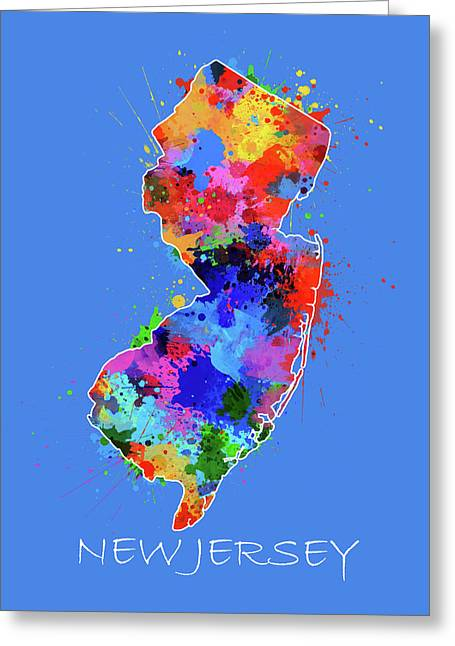 New Jersey Map Color Splatter 3 Greeting Card
