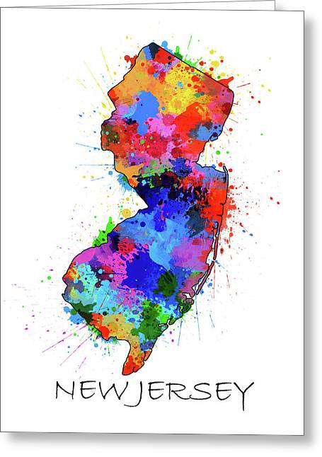 New Jersey Map Color Splatter Greeting Card