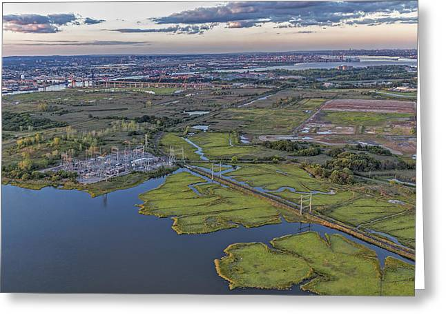 Staten Island Ny Aerial View Greeting Card by Susan Candelario