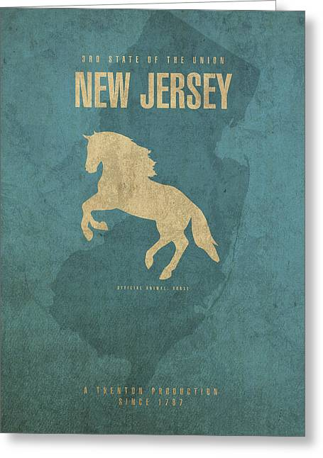 New Jersey State Facts Minimalist Movie Poster Art Greeting Card by Design Turnpike
