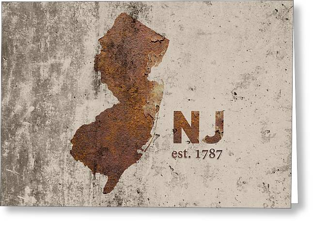 New Jersey State Map Industrial Rusted Metal On Cement Wall With Founding Date Series 026 Greeting Card