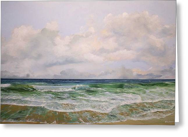 Greeting Card featuring the painting New Jersey Surf by Ken Ahlering