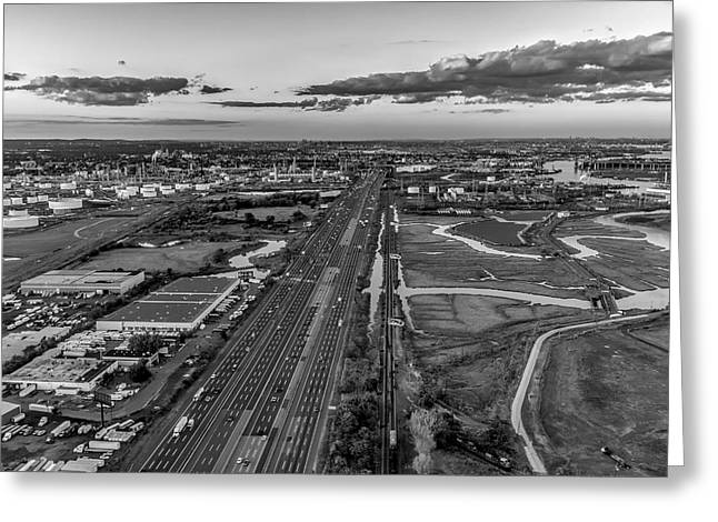 New Jersey Turnpike Aerial View Bw Greeting Card by Susan Candelario