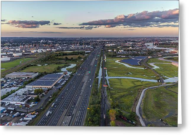 New Jersey Turnpike Aerial View Greeting Card by Susan Candelario