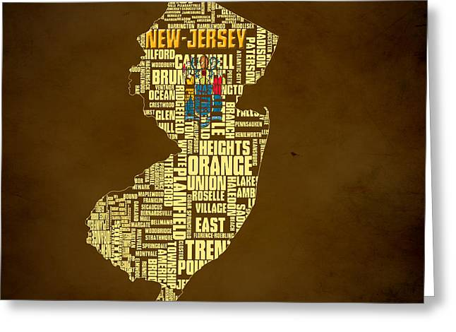 New Jersey Typographic Map 01 Greeting Card