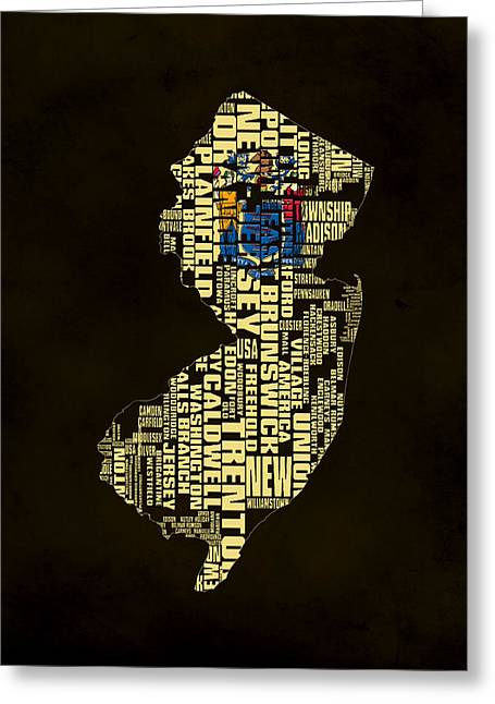 New Jersey Typographic Map 02 Greeting Card
