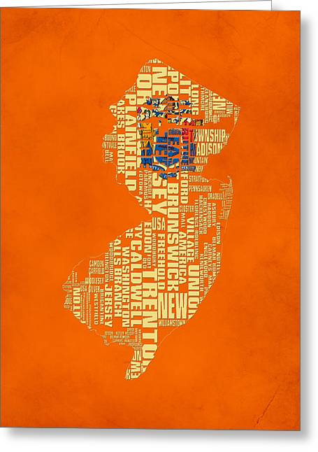 New Jersey Typographic Map 03 Greeting Card