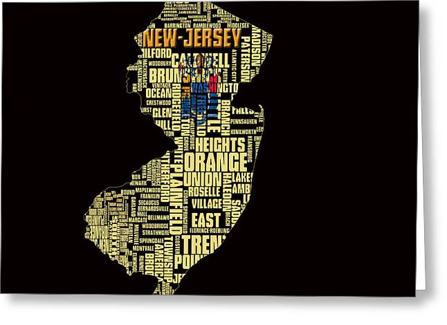 New Jersey Typographic Map 4g Greeting Card