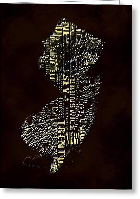 New Jersey Typographic Map 4h Greeting Card