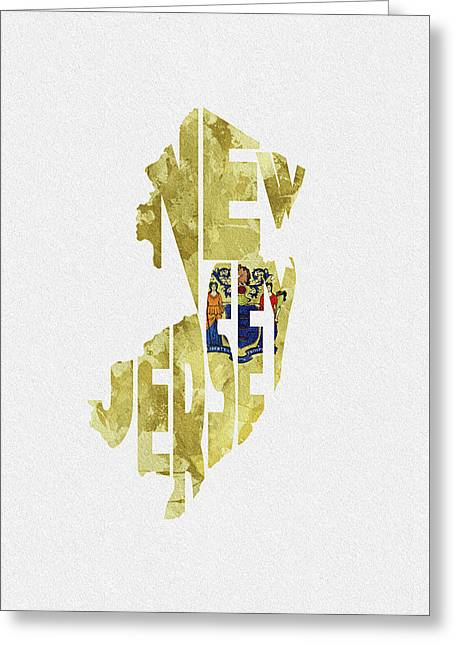 New Jersey Typographic Map Flag Greeting Card