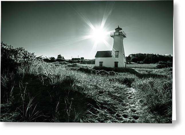Greeting Card featuring the photograph New London Light Behind Dunes by Chris Bordeleau