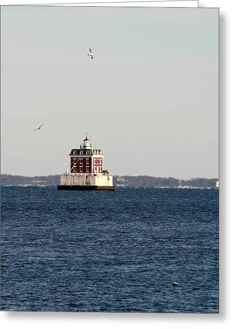 New London Lighthouse Greeting Card by Gerald Mitchell