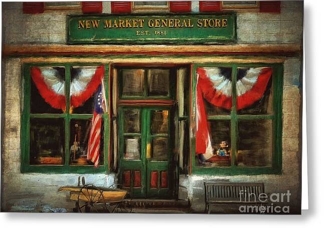 New Market General Store Greeting Card by Lois Bryan