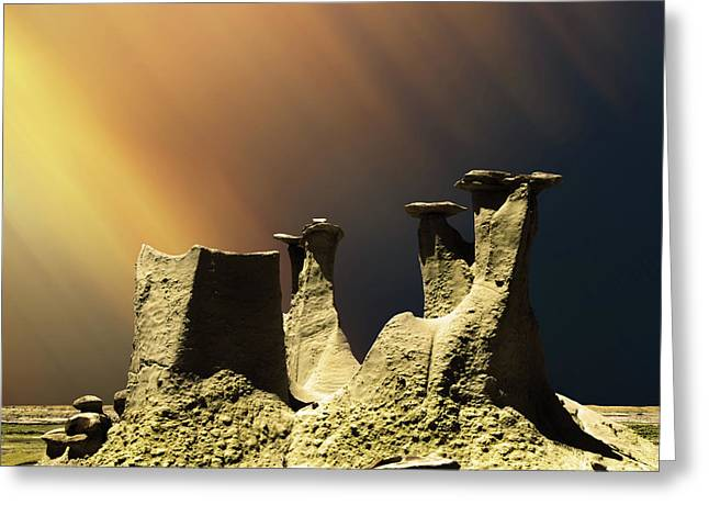 Ah-shi-sle-pah Rock Formation New Mexico  Greeting Card by Bob Christopher