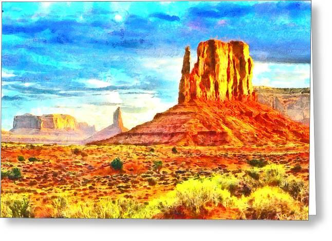 New Mexico Beautiful Desert - Pa Greeting Card by Leonardo Digenio