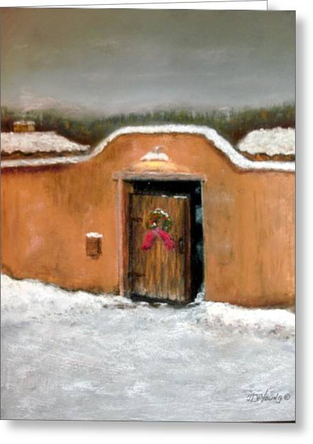 Adobe Pastels Greeting Cards - New Mexico Christmas Greeting Card by John De Young