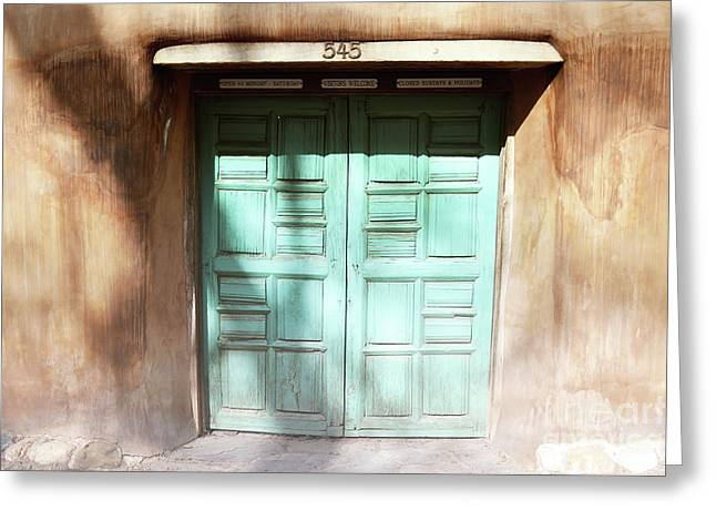 Greeting Card featuring the photograph New Mexico Dreamy Rustic Door by Andrea Hazel Ihlefeld