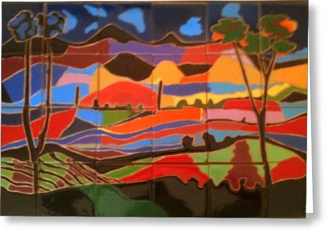 New Mexico Landscape Greeting Card by Yana Yatsyk