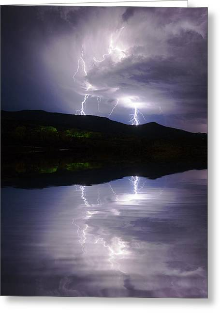 New Mexico Lightning Storm Greeting Card by Jerry McElroy