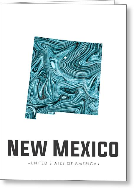 New Mexico Map Art Abstract In Blue Greeting Card